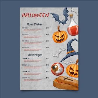 Modelo de menu de halloween em aquarela de abóbora e morcegos