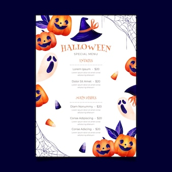 Modelo de menu de halloween em aquarela