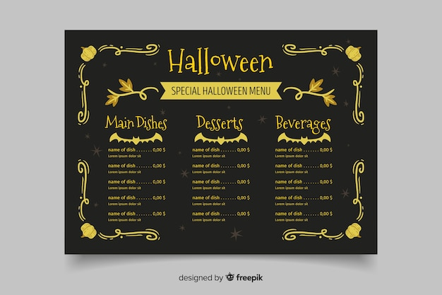 Modelo de menu de halloween vintage mão desenhada