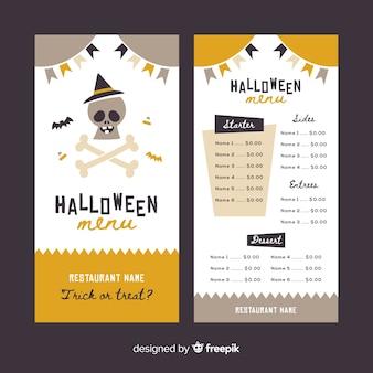 Modelo de menu de halloween vintage