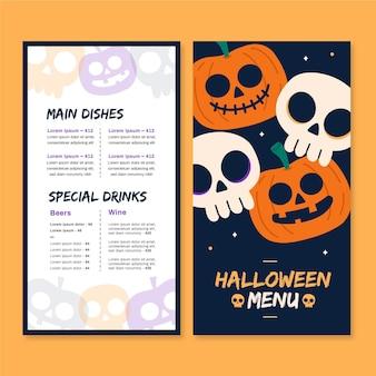 Modelo de menu de halloween