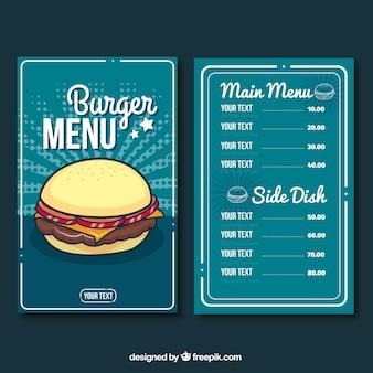 Modelo de menu de hambúrguer azul