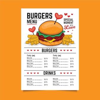 Modelo de menu de hambúrguer de dia dos namorados
