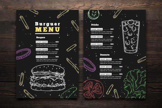 Modelo de menu de hambúrguer de mão desenhada