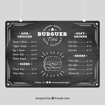 Modelo de menu de hambúrguer no estilo de quadro