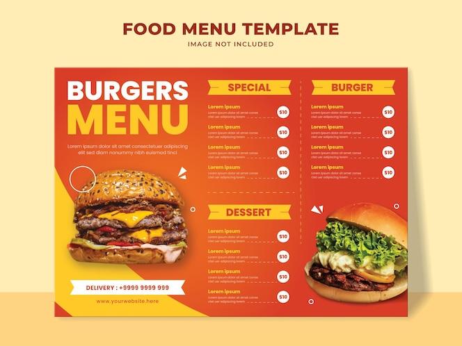 Modelo de menu de hambúrguer para restaurante fast food