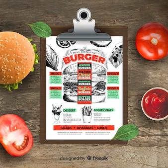 Modelo de menu de hambúrguer retrô mão desenhada