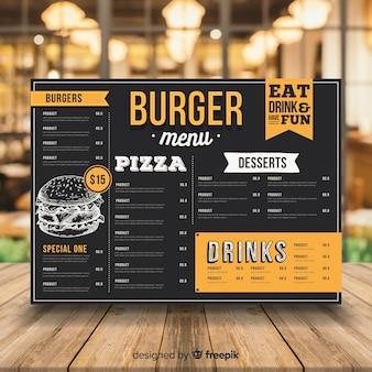 Modelo de menu de hambúrguer vintage