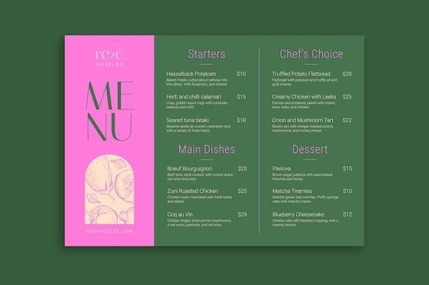 Modelo de menu de hotel r e c moderno e elegante