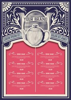 Modelo de menu de loja de chá. estilo vintage