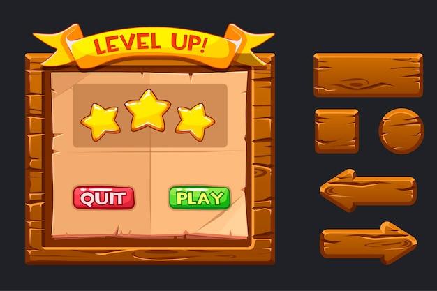 Modelo de menu de madeira da interface gráfica do usuário