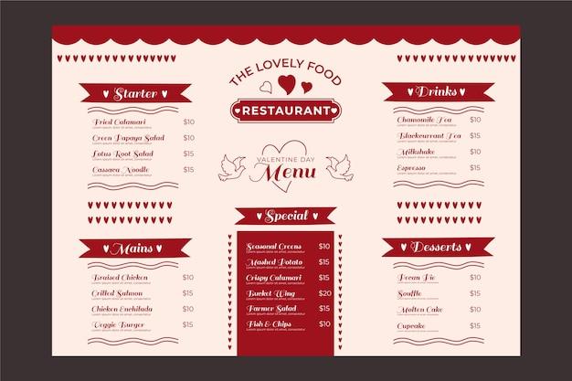 Modelo de menu de mão desenhada dia dos namorados