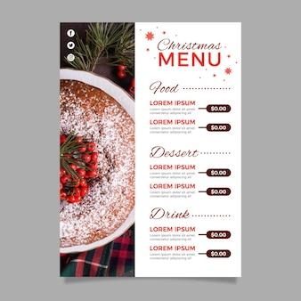 Modelo de menu de natal com foto