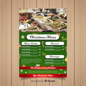 Modelo de menu de natal com fotografia