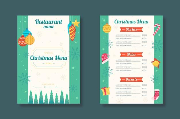 Modelo de menu de natal de design plano