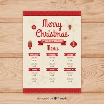 Modelo de menu de natal de fita vintage