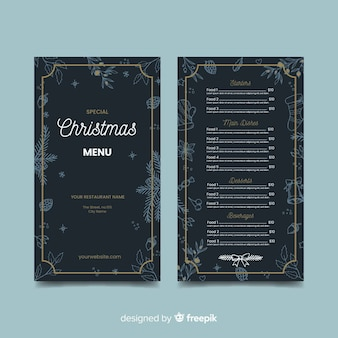 Modelo de menu de natal desenhado à mão escura