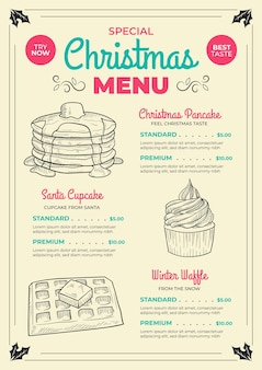 Modelo de menu de natal desenhado à mão