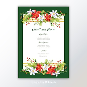 Modelo de menu de natal em aquarela colorida