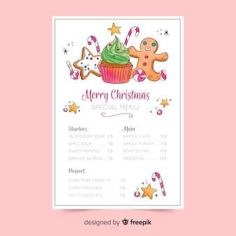 Modelo de menu de natal em aquarela