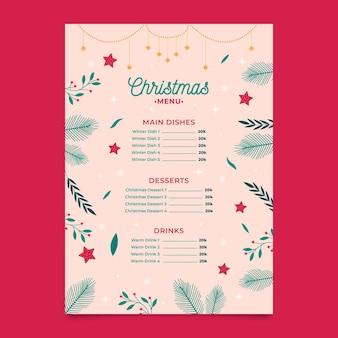 Modelo de menu de natal em design plano