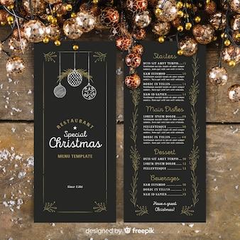 Modelo de menu de Natal em estilo vintage