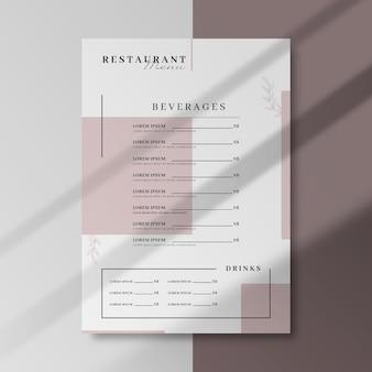 Modelo de menu de negócios de restaurante