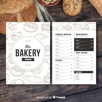 Modelo de menu de padaria retrô