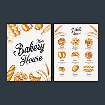 Modelo de menu de padaria