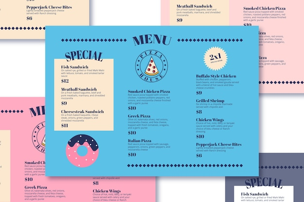 Modelo de menu de pizza e sobremesas