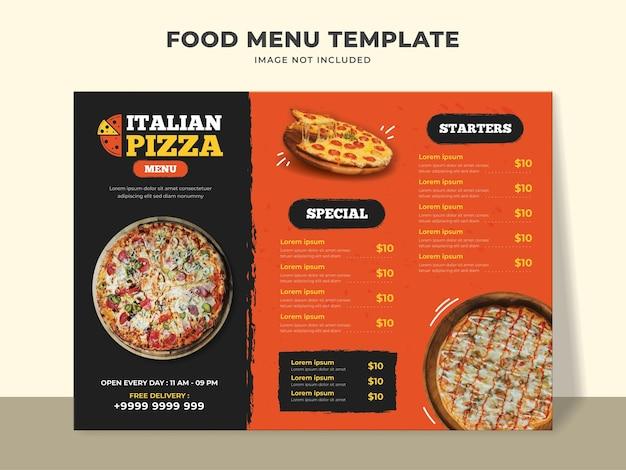 Modelo de menu de pizza italiana com menu especial, entradas e outros itens do menu