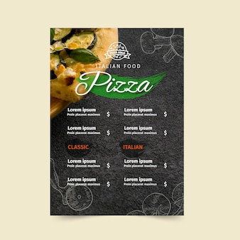 Modelo de menu de pizzaria