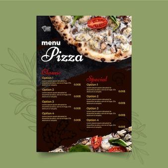Modelo de menu de pizzaria