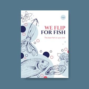 Modelo de menu de pôster com design de conceito de frutos do mar para publicidade e ilustração de marketing