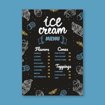 Modelo de menu de quadro de sorvete desenhado à mão