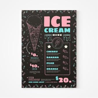 Modelo de menu de quadro de sorvete desenhado à mão Vetor Premium