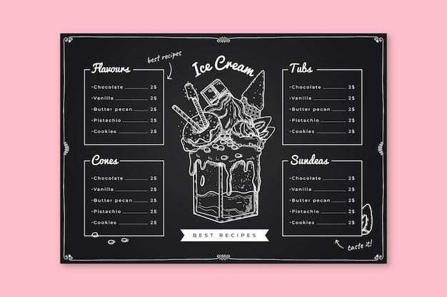 Modelo de menu de quadro de sorvete refrescante