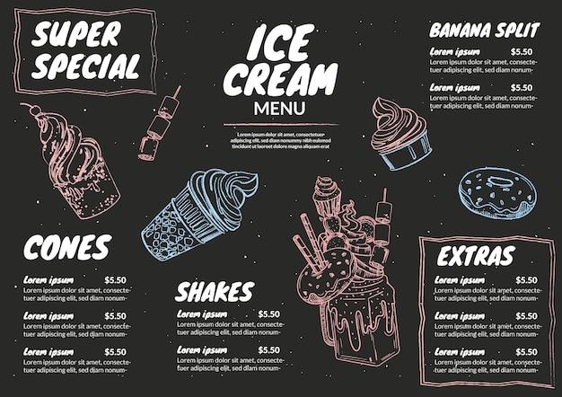 Modelo de menu de quadro de sorvete saboroso