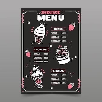 Modelo de menu de quadro de sorvete