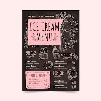 Modelo de menu de quadro negro de sorvete desenhado à mão