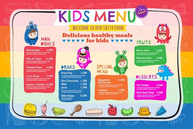 Modelo de menu de refeição de crianças colorido bonito