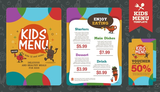 Modelo de menu de refeição para crianças coloridas