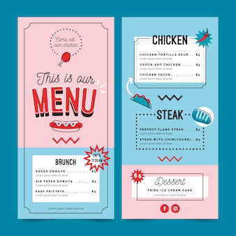Modelo de menu de restaurante azul e rosa