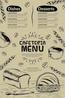 Modelo de menu de restaurante cafeteria