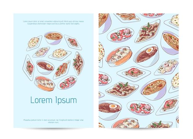 Modelo de menu de restaurante chinês com pratos asiáticos