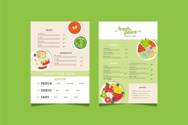 Modelo de menu de restaurante colorido com comida saudável