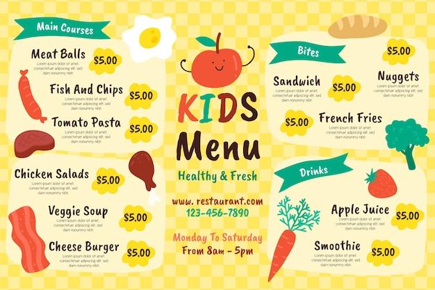 Modelo de menu de restaurante colorido em formato horizontal