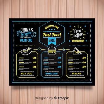 Modelo de menu de restaurante colorido mão desenhada