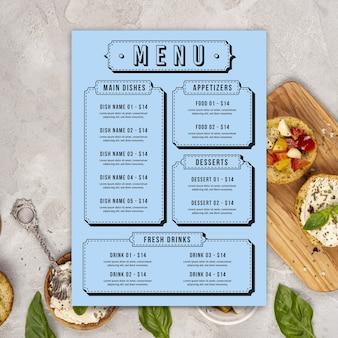 Modelo de menu de restaurante colorido