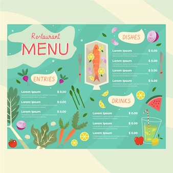 Modelo de menu de restaurante com alimentos ilustrados